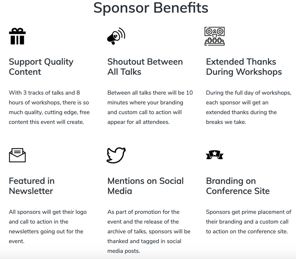 Sponsor Benefits with icons and text