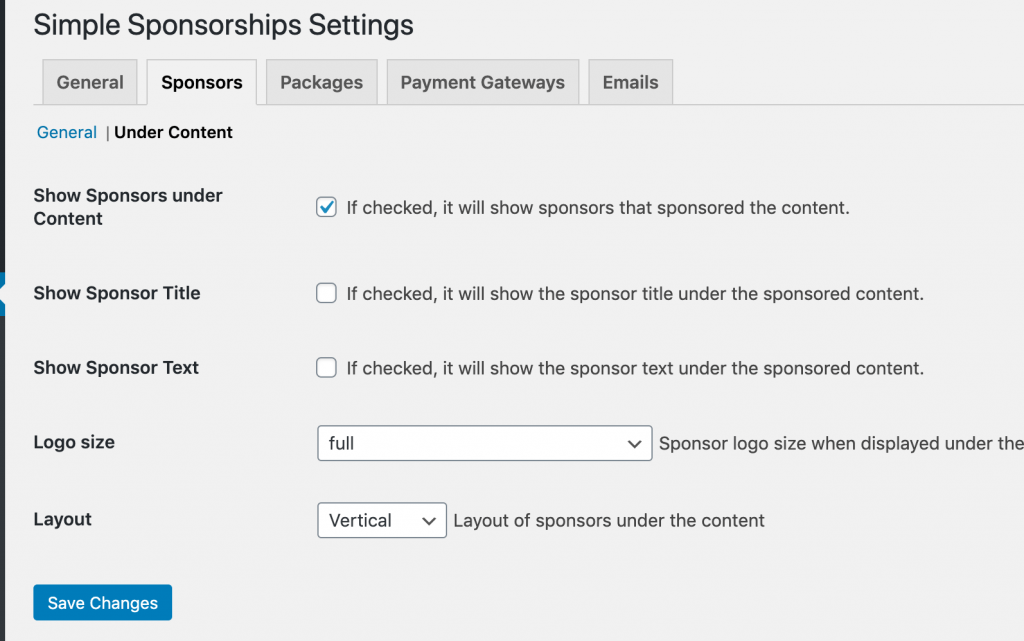 Simple Sponsorships Settings for display sponsors under content